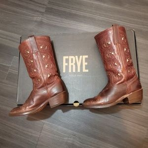 Frye Leather Western Boots in Brown